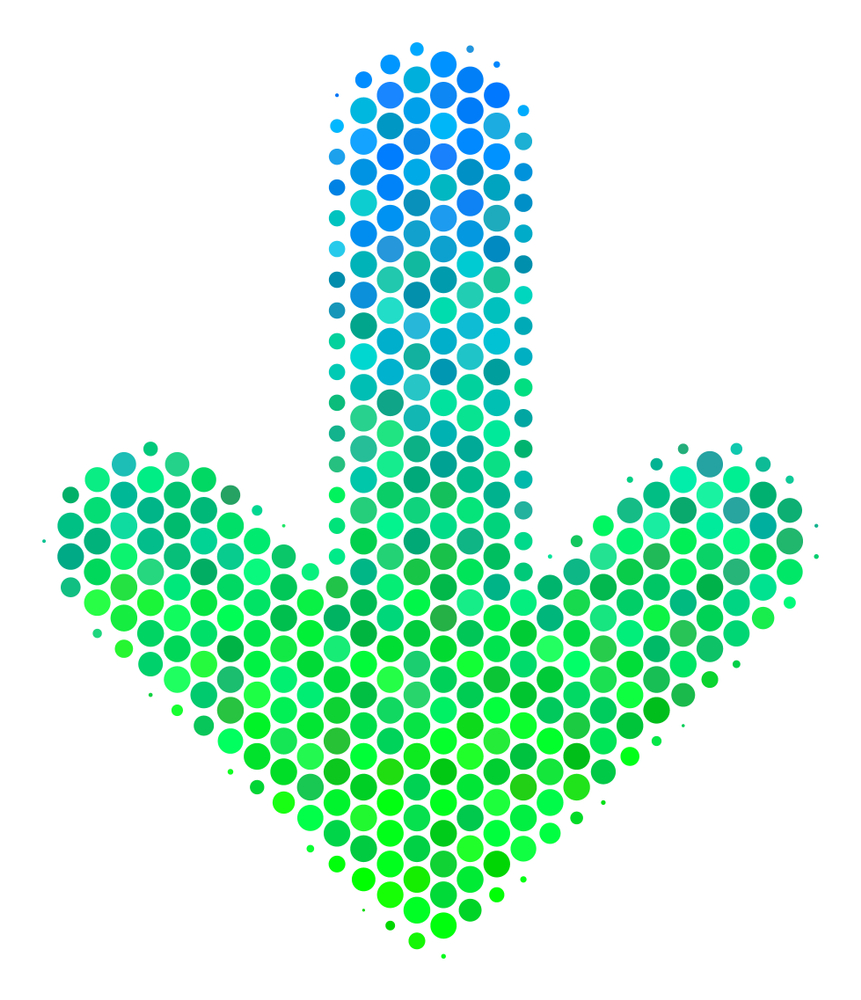 Halftone circle Arrow Down pictogram. Pictogram in green and blue color tinges on a white background. Raster composition of arrow down icon designed of round dots.